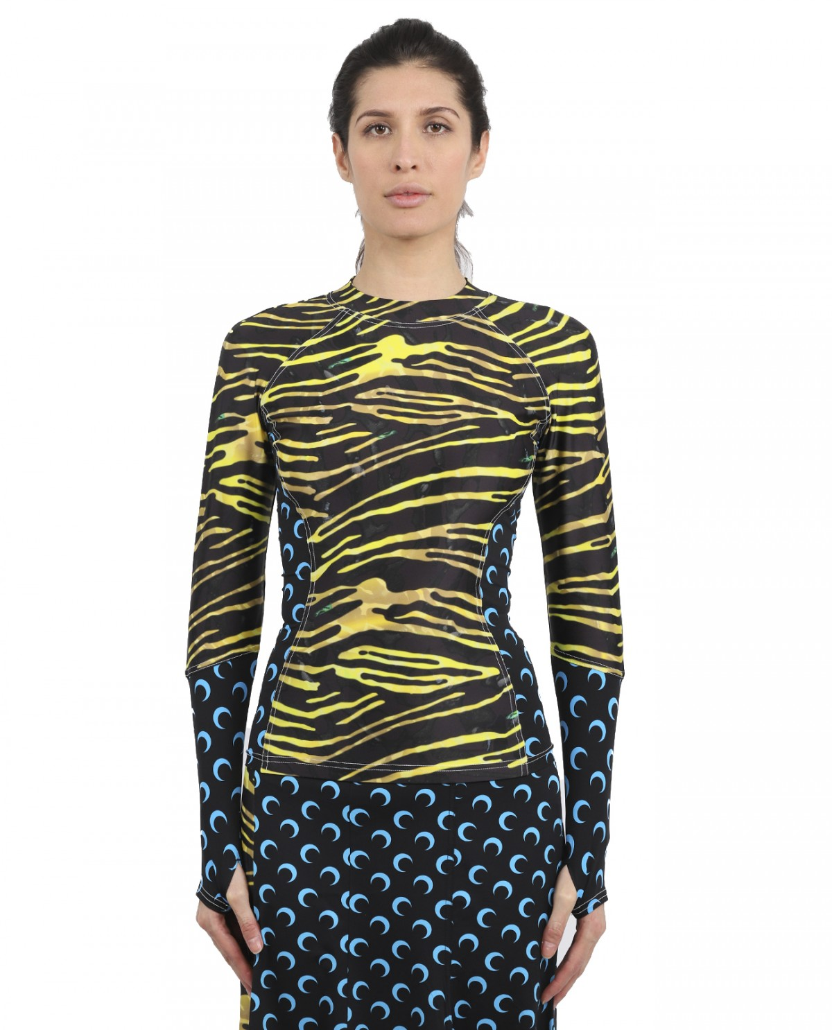 Marine Serre zebra multi cut top