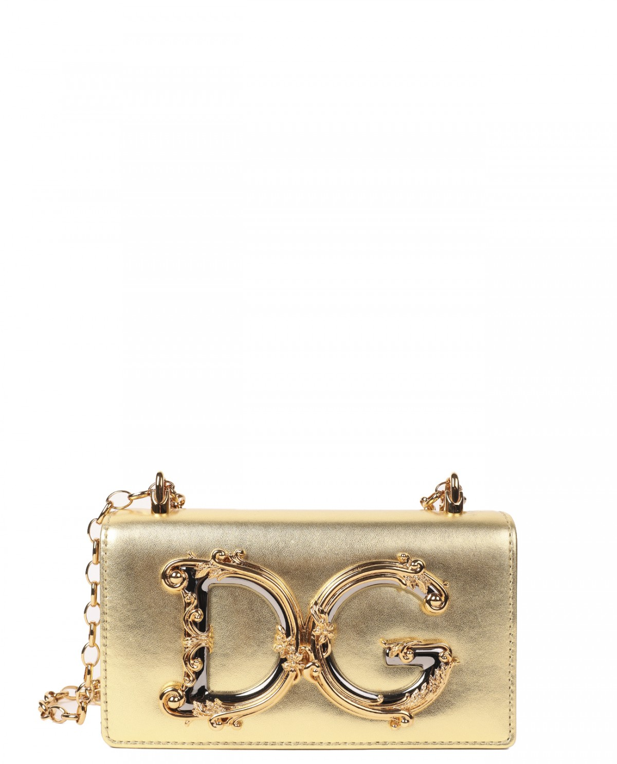 Dolce & Gabbana gold DG Girls phone bag