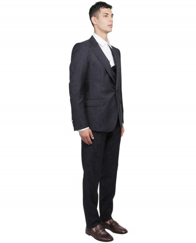 Thom Browne navy melange trousers
